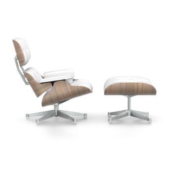 Lounge Chair mit Ottoman Nussbaum weiss